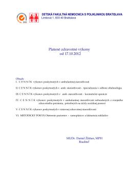 Platené zdravotné výkony od 17.10.2012