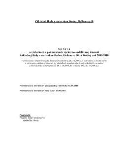 Vyhodnocovacia správa 2009/2010