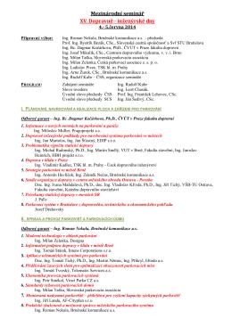 Mezinárodní seminář XV. Dopravně - inženýrské dny