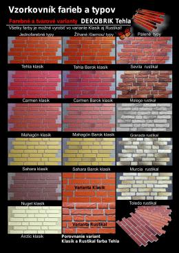 Vzorkovník farieb a typov Dekobrik 2012