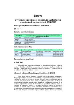 Správa - Stredná priemyselná škola stavebná