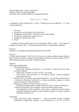 Zápisnica zo zasadnutia VMČ 4 zo dňa 1.12.2014