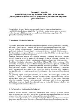 Oponentský posudok na habilitačnú prácu Ing. Ľuboša Cibáka, PhD