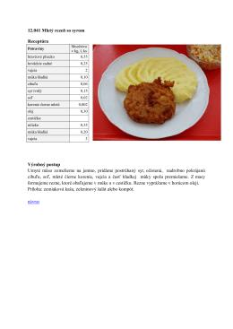 12.041 Mletý rezeň so syrom Receptúra Výrobný postup