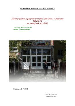 Gymnázium, Hubeného 23, 834 08 Bratislava