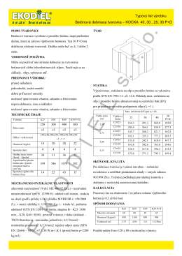 Typový list výrobku Betónová debniaca tvarovka – KOCKA