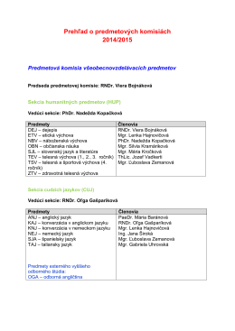 Prehľad predmetových komisií