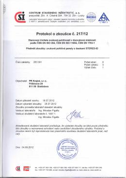 Protokol o zkousce c. 217/12