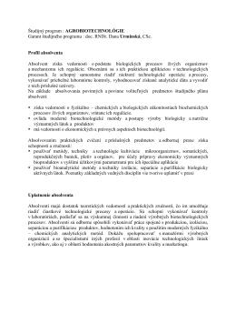 Študijný program : AGROBIOTECHNOLÓGIE Garant