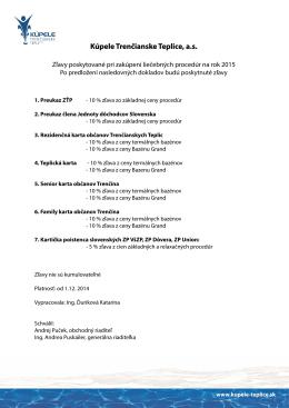 Zľavy z cien procedúr - na rok 2015