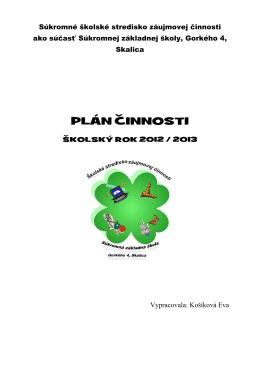 Plán činnosti ŠSZČI_2012