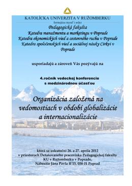 Pozvánka IV. ročníka - Konferencie
