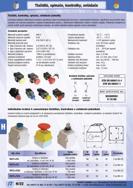 H/22 Tlačidlá, spínače, kontrolky, ovládače