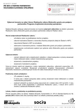 Výberové konanie na výber členov Riadiaceho výboru Blokového