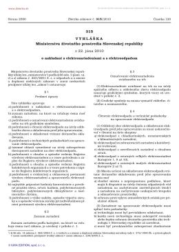 315/2010 Vyhláška Ministerstva životného
