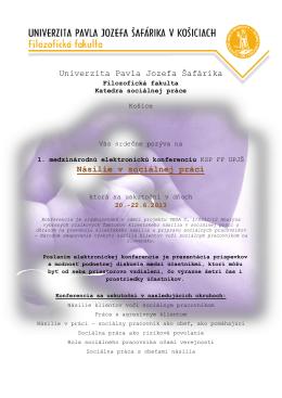 Univerzita Pavla Jozefa Šafárika Násilie v sociálnej práci