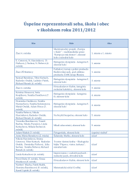 Úspešne reprezentovali seba, školu i obec v školskom roku 2011/2012
