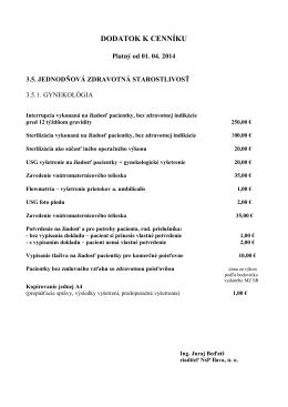 Dodatok k cenníku JZS - gynekológia platný od 1.4.2014