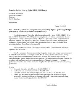 Žiadosť o preskúmanie postupu OP Poprad