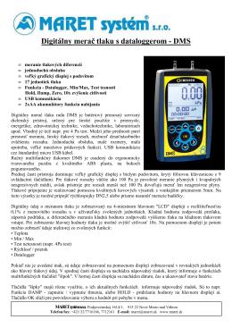 Digitálny merač tlaku s dataloggerom - DMS
