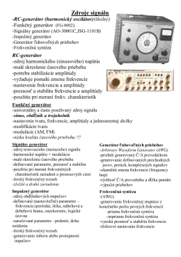 ELM Zdroje signálu - LC, RC GENERÁTOR -Antošovský
