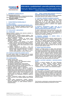 Informáciou o podmienkach uzatvorenia poistnej zmluvy