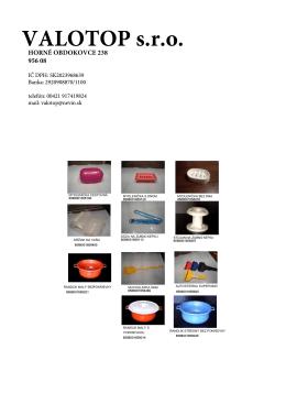 Produkty VALOTOP s.r.o. - divízia Plast