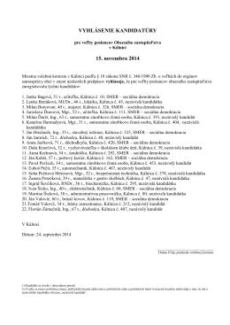 kandidáti pre voľby poslancov obecného obce Kálnica