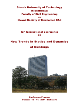 posters - New Trends in Statics and Dynamics of Buildings