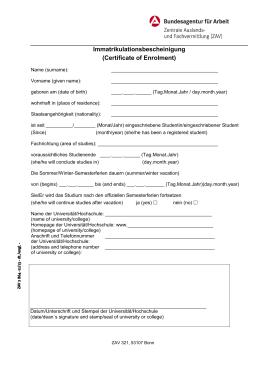 Immatrikulationsbescheinigung (Certificate of Enrolment)
