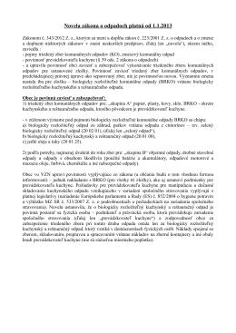 Novela zákona o odpadoch platná od 1.1.2013