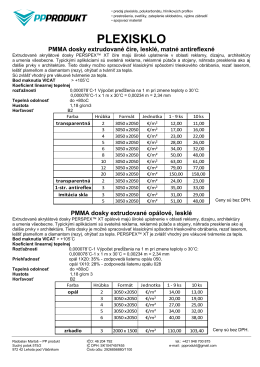 Cenník - PP produkt