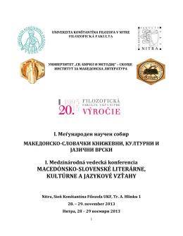 прв меѓународен научен собир - Univerzita Konštantína Filozofa v