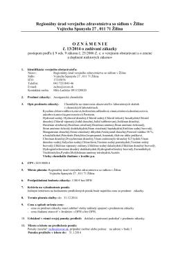 Oznámenie č. 13/2014 o zadávaní zákazky