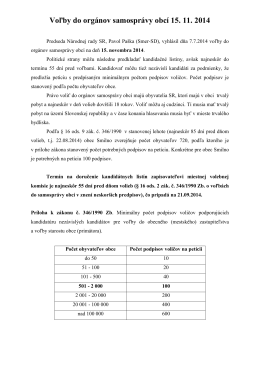 Voľby do orgánov samosprávy obcí 15. 11. 2014 - Smilno