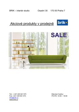Akciový výpredaj showroom Praha