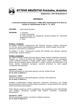 Zápisnica zo zasadnutia výboru samosprávy vlastníkov bytov a