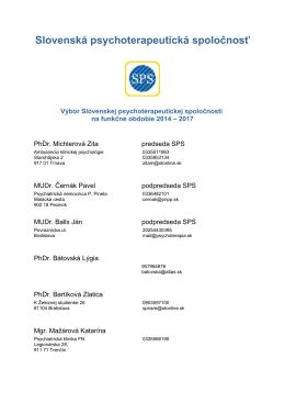 Výbor SPS [pdf] - Slovenská psychoterapeutická spoločnosť