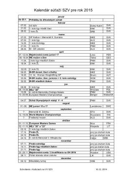 Kalendár súťaží SZV pre rok 2015