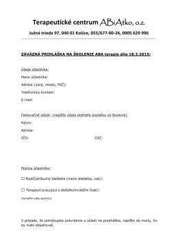 Záväzná prihláška na školenie - 18. Marec 2015