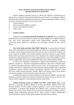 Správa z plenárneho zasadnutia Slovenskej komisie pre UNESCO
