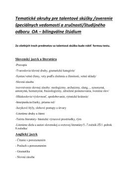 Tematické okruhy pre talentové skúšky /overenie špeciálnych