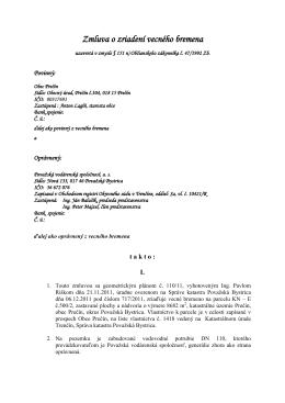 Zmluva o zriadení vecného bremena - Obec Prečín