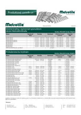 Produktovy cennik Metrotile s kg