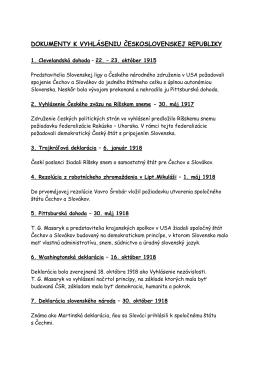 Dokumenty k vyhláseniu ČSR