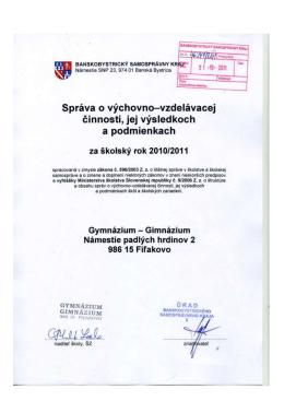 Správa o výchovno-vzdelávacej činnosti - 2010/2011