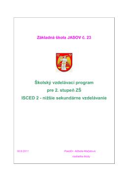 Školský vzdelávací program pre 2. stupe ZŠ ISCED 2