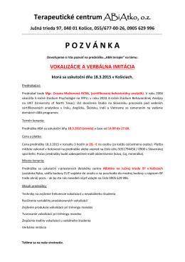 Pozvánka na školenie - 18. Marec 2015 v Košiciach