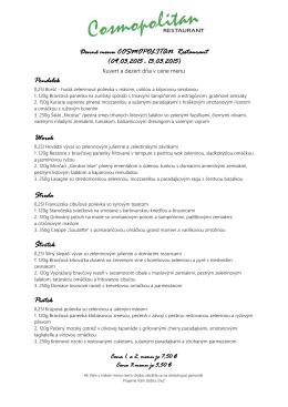 Denné menu COSMOPOLITAN Restaurant