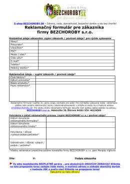 Reklamačný formulár pre zákazníka firmy